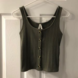 Mudd Olive Green Ribbed Crop Tank Top Size S